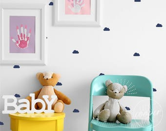 Mini Cloud Decals | Fluffy Clouds | Vinyl Stickers Boys & Girls | Sets of 84 / 168 / 252 / 336 / 420 | For Baby Nursery OR Kids Room