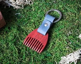 Wooden beard comb Padauk  wood. Mini Beard Comb Keychain. Navy leather Keyring. Personalized comb. Handsome. Boyfriend, groomsman gift.