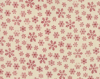 Joyeux Noel Red Snowflakes on Cream by French General for Moda