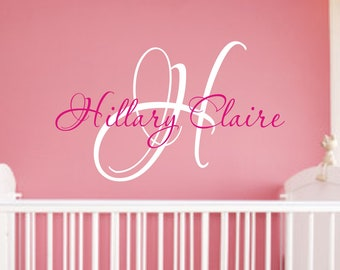 Baby Girl Nursery Wall Decal - Monogram Name Vinyl Lettering Childrens Wall Decal
