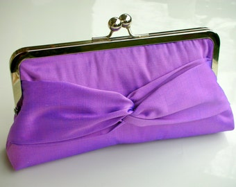 Metal-frame clutch purse Dupioni silk lilac silk evening bag wedding metal frame bridalclutch handbag handbag purse