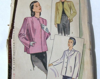 40s Vintage Blazer Jacket UNUSED Simplicity 1219 Pattern, 1944 WWII Swing Style Short Coat Loose Fit, Notched or Collarless, Bust 32