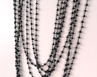 Black Glass Seed Bead Chain, Rosary Chain, Glass Bead Chain, 2.5mm, 5Ft
