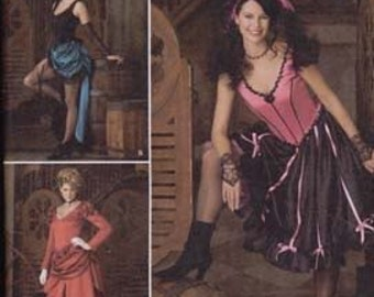 Misses' Saloon Girl Costume Sewing Pattern Simplicity 2851 Saloon Girl Size 14-20 Bust 36-42 inches Uncut Complete
