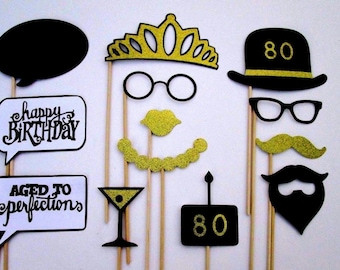 80th Birthday Party Photo Booth Props In Black And Gold Glitter Paper!