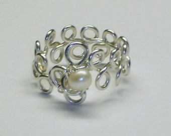 Purity Ring, Pearl, Sweet Sixteen Gift,  Sterling Silver, Handcrafted Setting