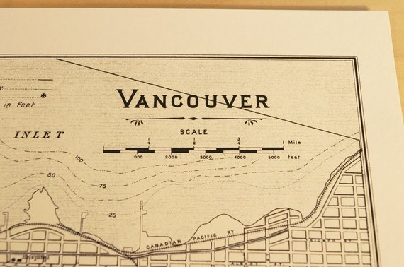 Old map of Vancouver antique map print on eco bamboo paper Canadian made in Canada souvenir West Coast British Columbia Stanley Park YVR