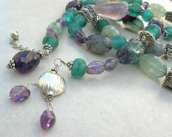 AMAZING Long Rope, Fluorite, Amethyst & Great Sterling Silver Beads, Optional Bracelet, Versatile Statement Necklace by SandraDesigns
