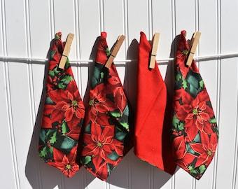 "Set of 4 2 ply Cotton 8"" Everyday Cloth Napkins Pretty Poinsettia  Print"