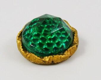 Vintage Green Glass Cabochon Gold Plastic Button