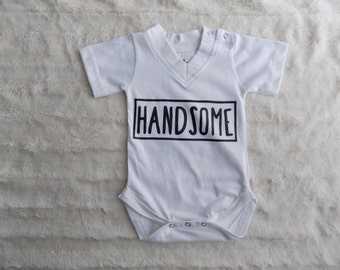 V-Neck Baby Onesie Handsome