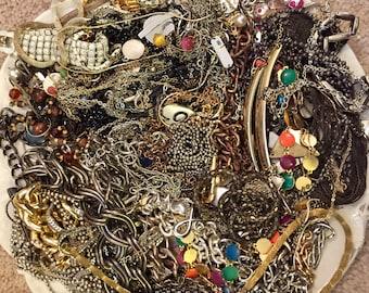 HUGE 3 pounds 10 oz Destash Lot of Scrap Chain Jewelry making Silver Gold Tone