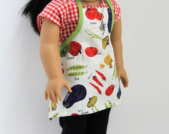Chef's apron for 18-inch dolls like American Girl from TheBeesNest; AG doll clothes; 18-inch doll apron; AG doll gifts; AG picnic kitchen