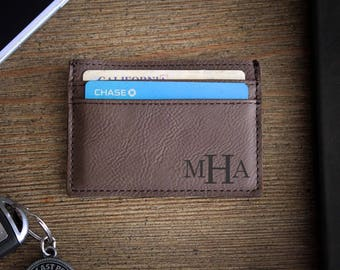 Leather Money Clip, Personalized Money Clip, Leather Wallet, Engraved Money Clip, Groomsmen Gift, Bachelor Party Gifts --LMC-DB-MHA