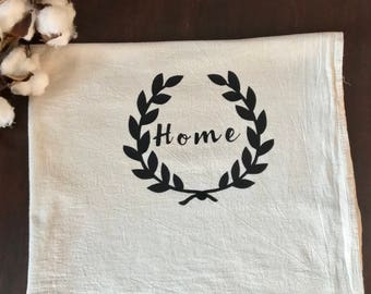 "Tea Towel Flour Sack "" Home "" Feed Sack Towel Kitchen"