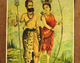 Raja Ravi Varma ... Shiva & Parvati ... Vintage Indian Hindu devotional poster print