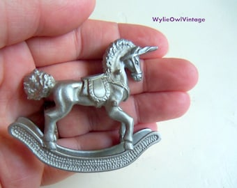 Vintage Spoontiques Pewter Unicorn Rocking Horse 1982