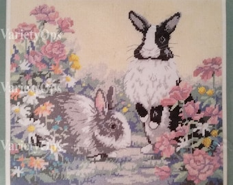 Vintage 1989 BUNNY BUDDIES Needlepoint Kit - Sunset by Dimensions - Bunny, Rabbit, Flowers, Garden, Easter, Spring, Nature, Summer, Animals