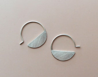 Hoop earrings sterling silver hoops geometric earrings modern hoop earrings minimal earrings circle earrings boho earrings  - amejewels