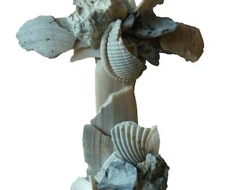 Unique Cross Wall Art - Beach Wedding Gift - Christian Gift - Sculptured from Naturally Broken Seashells - Religious Decor - Original Cross