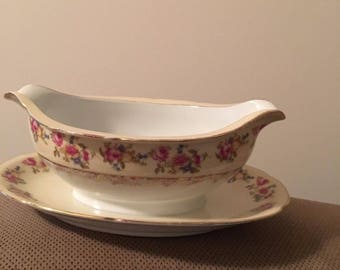 Vintage Gold Castle Hostess Gravy Boat with Attached underplate