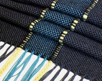 Modern Black Table Runner, Handwoven Runner, Striped Table Runner, Unique Runner, Table Decor, Weaving, Boho Style, Modern Decor,