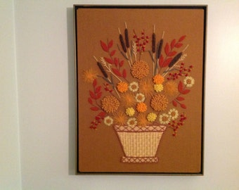 Vintage Framed Needlepoint Floral Needlepoint Fall Colors