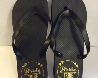 Bride Tribe flip flops Bridesmaid gift wedding maid of honor bachelorette