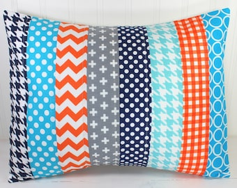 Decorative Pillows, Cushion Cover, Throw Pillows, 12 x 16, Nursery Decor, Pillow Cover, Pillow, Nursery, Orange, Navy, Turquoise, Baby Boy