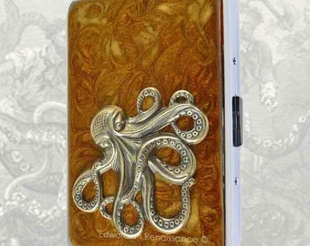 Octopus Metal Cigarette Case Inlaid in Hand Painted Enamel Bronze Steampunk Kraken Metal wallet Custom Colors and Personalized