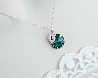 Green Emerald Swarovski Necklace,Custom Initial Necklace,Birthstone Personalized Initial Necklace,Monogram Initial Necklace,Bridesmaids Gift