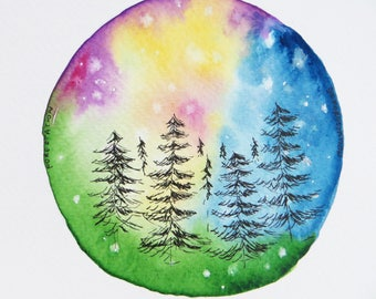 Magic Forest Colorful Original Watercolour Painting