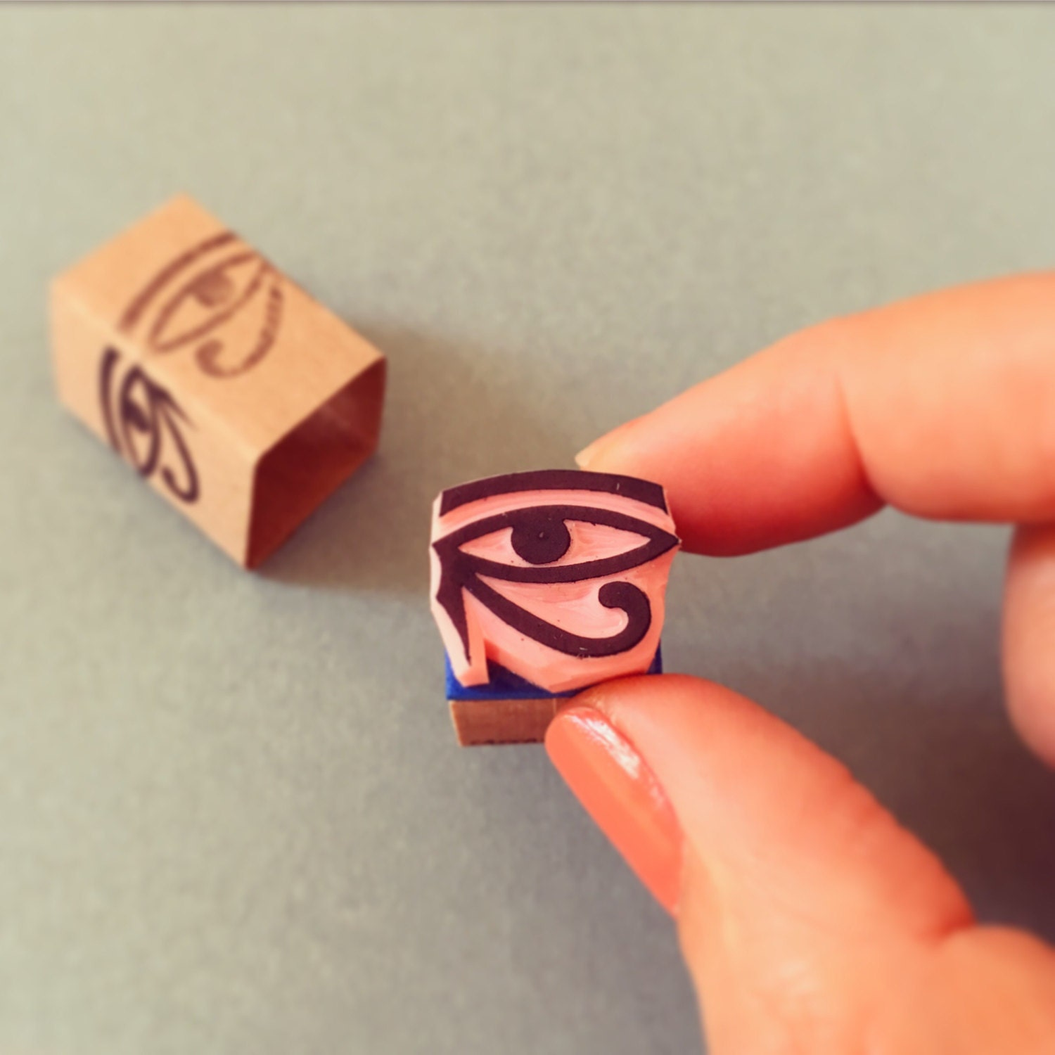 Eye of Ra stamp hand carved mini rubber stamp egyptian