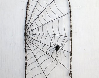 Spider Spinning A Web Barbed Wire Garden Trellis Made to Order