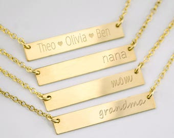 Personalized bar necklace for mom grandma necklace nana necklace custom name necklace nameplate necklace kids names Valentines day gift mom