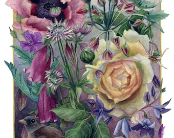 Fine Art Print of Original Watercolor Painting - Cottage Garden