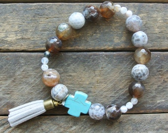 Taupe Marbled Turqouise Cross Beaded Bracelet with Tassel / Stone Cross / Gift for Woman
