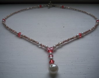 Pearl and Pink Crystal Bead Necklace, Drop Pendant, Beaded