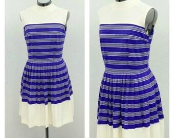 Vintage 60s Mod Purple Striped Cheerleader Dress, High Collar Dress, Sleeveless Pleated Dress, Knee Length, Short Summer Dress