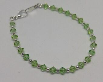 Peridot Swarovski Crystal and Steel Bracelet (August Birthstone)