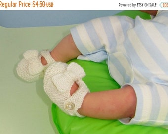 HALF PRICE SALE Digital file pdf download knitting pattern- Baby Bow Sandals Booties Bootees pdf download knitting pattern