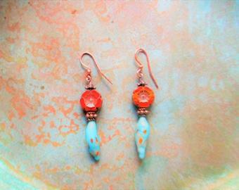 Lampwork earrings, southwest Lampwork earrings, summer trends, southwest turquoise earrings, rustic orange earrings