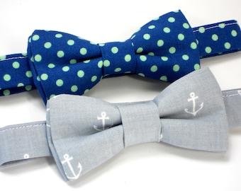 Boys nautical bow tie, gray anchor bow tie, blue bow tie, ring bearer bow tie, wedding bow tie, groom bow tie, toddler bow tie, kids bow tie