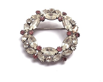 Vintage Rhinestone Brooch White and Pink Bridal Wreath 1950s