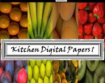 Kitchen Digital Papers - Fruits Vegetables Digital Papers - Food Photography - Kitchen Scrapbook - Menu Scrapbook - Food Scrapbook