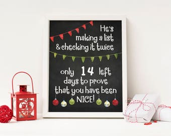 He's Making A List - Advent Calendar Digital Print - Instant Download
