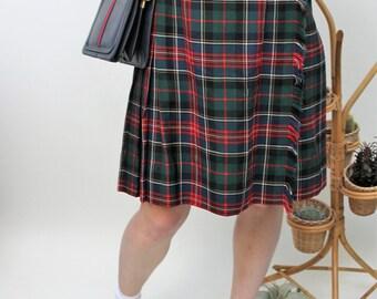 Wool Tartan Kilt Skirt Size UK 8, US 4, EU 36