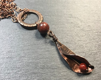 Long Artisan Copper and Red Jasper Seed Pod Belly Tickler Necklace