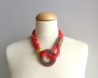 Tribal statement colorful necklace, red bronze gold
