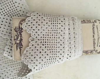 Antique French Lace Crochet OffWhite Shabby 1920s Handmade